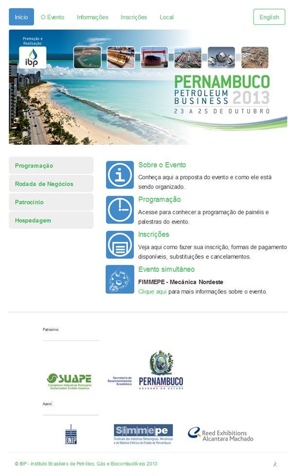 Hotsite do evento Pernambuco Petroleum Business, do IBP - Instituto Brasileiro de Petróleo, Gás e Biocombustíveis. [ ibp.org.br/pernambuco ]