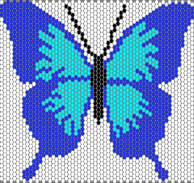 Free Bead Patterns : Blue & Light Blue Butterfly