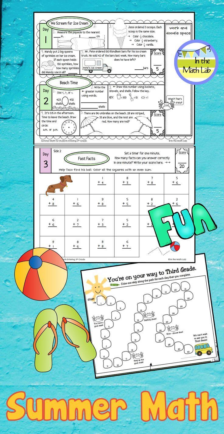 Stop The Summer Slide With Summer Math 30 Days Of Summer Fun For Grades K 4 A New Theme Ea Summer Math Summer Math Packet Elementary School Math Activities [ 1426 x 736 Pixel ]