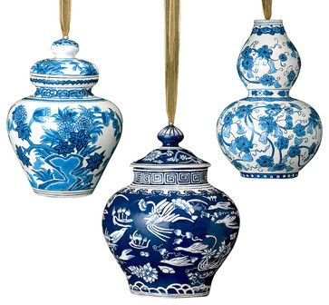 This fabulous set of blue and white Christmas ornaments is a must for the lover of blue and white chinoiserie.  That blue and white tree is looking possible!