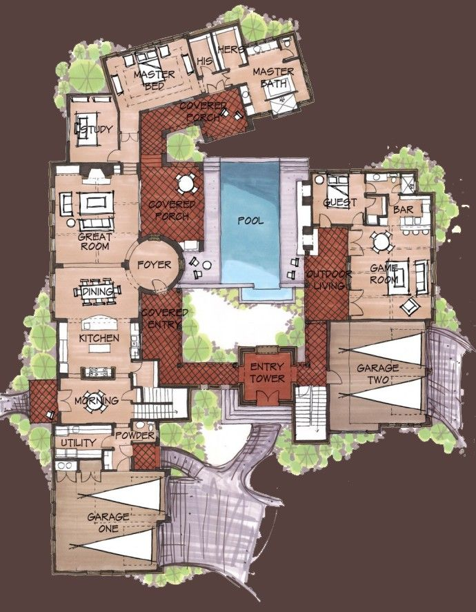 Hacienda style homes spanish hacienda floor plans for Unusual floor plans