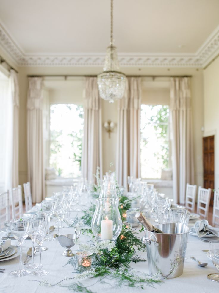 FOR THE RECEPTION || Classic, elegant beige & white  dining room tablescape - Photography : WOOKIE Photography | Venue : Pynes House  || NOVELA BRIDE...where the modern romantics play & plan the most stylish weddings... www.novelabride.com @novelabride #jointheclique