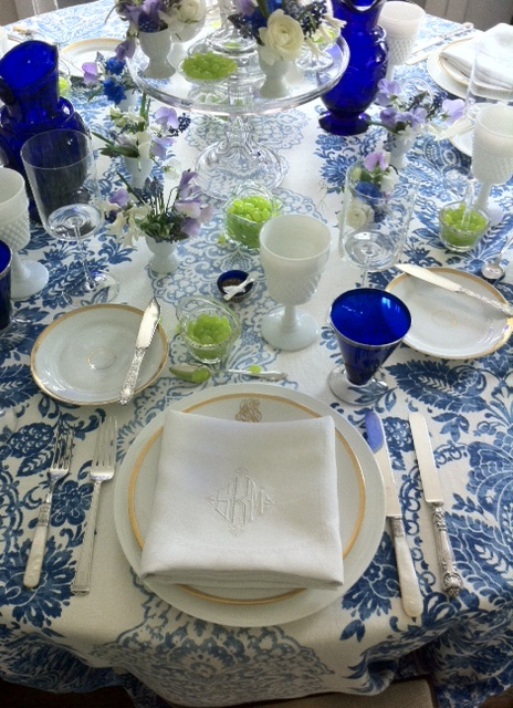 blue and white table via Eddie Ross
