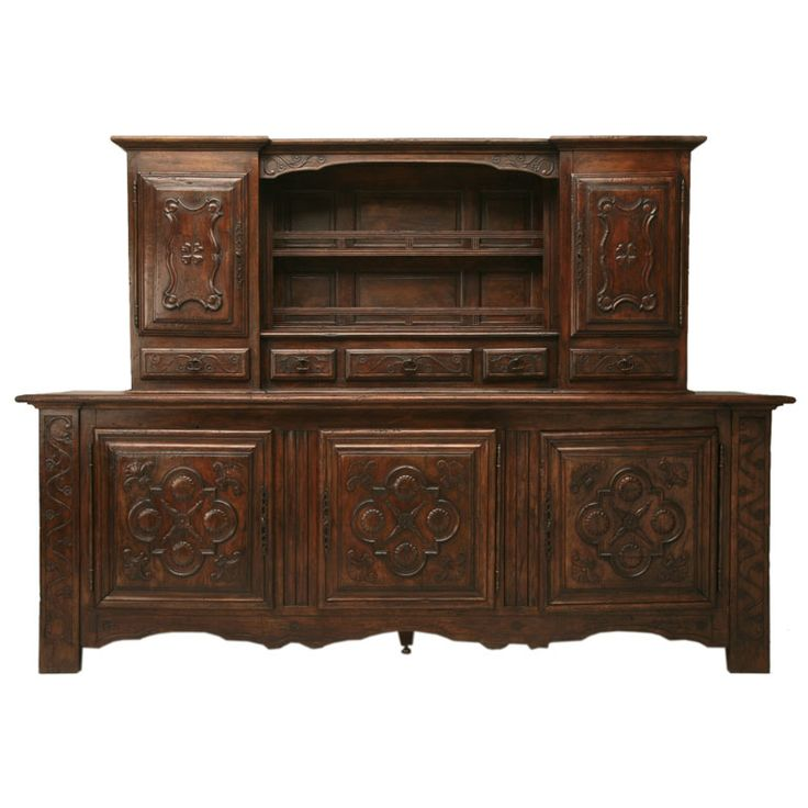 c.1910 Spanish Solid Oak Sideboard w/18th C. Appearance 1
