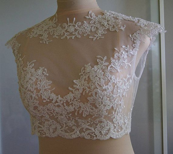 Wedding bolero-top-jacket with lace and tulle ,sleeveless, alencon .  Romance bolero  NORA $ 120