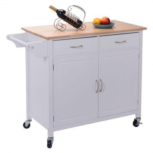 White Kitchen Cart Trolley Rolling Island Storage Cabinet Handle Drawer Hardwood #Unbranded