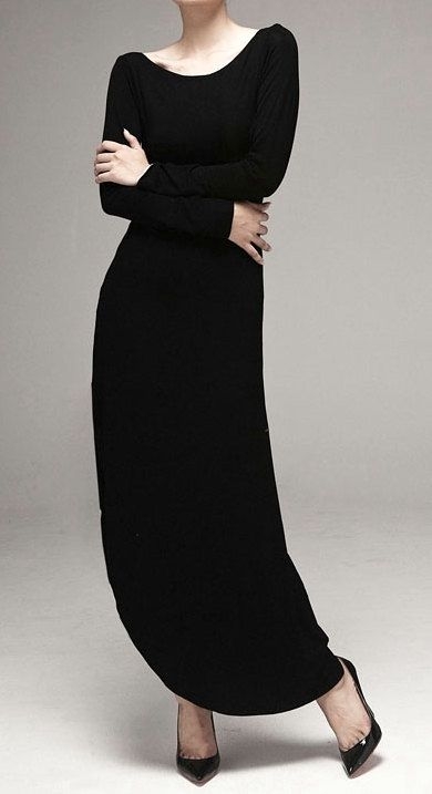 Side Slit-Cut Maxi Dress Viscose Cotton Relax Fit Long Sleeve Kaftan Muslim//