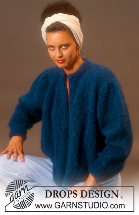 Fun retro! This cardigan was a huge success in the beginning of the 80's and you can still wear it today! Make it in DROPS Alpaca Silk or DROPS Alpaca Bouclé and give yourself a new favorite cardigan. #garnstudio #vintage
