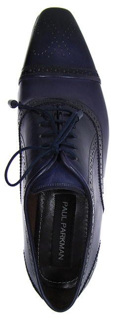 PAUL PARKMAN ® Cap-Toe Oxford Shoes For Men - Navy Leather Upper & Navy Hand Burnished Leather Sole