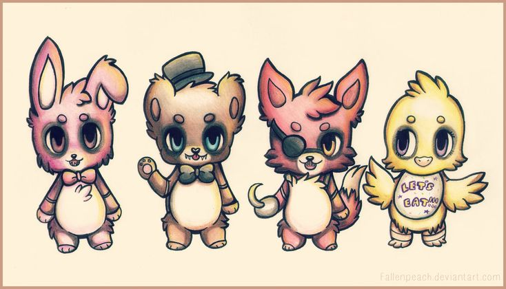Five Nights At Freddy's by Fallenpeach on deviantART. Yay, it's not as scary! Maybe they won't try to kill you. Maybe...
