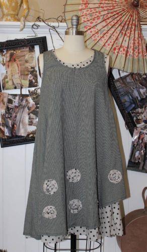 NWT-Tulip-USA-Darcy-2-Piece-Dress-Boho-Cotton-Lagenlook-Khaki-Black-Size-S-XL