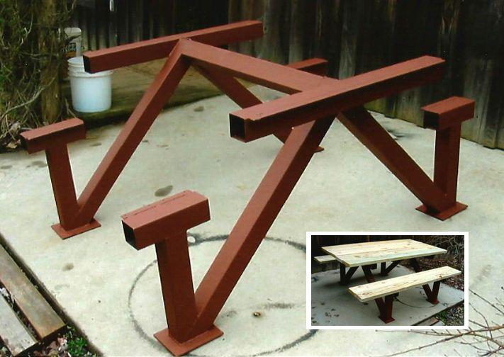 """Picnic Table Medium: Mixed, Steel & Wood Size: 6' x 8' Notes: Seats and top are made from 2"""" x 8' lumber. Steel base is 3"""" x 3"""" square tubing."""