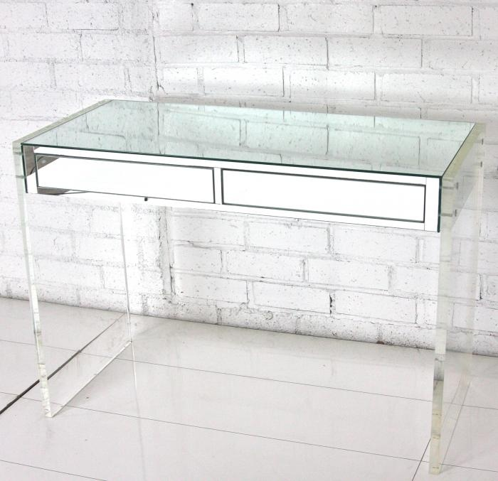 mirror & lucite desk, white brick wall, white wood floors