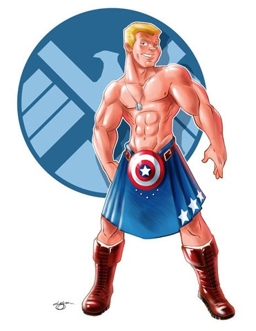 Kilted Captain America pinup from Lar DeSouza. God bless America, says I. ;)Blessed America, Captain America, America Pinup