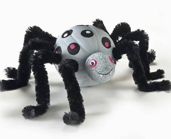 DIY Silver Polka Dot Spider Pumpkin, one of 75+ No Carve DIY Halloween Pumpkin Decorating Ideas: The Ultimate Roundup!