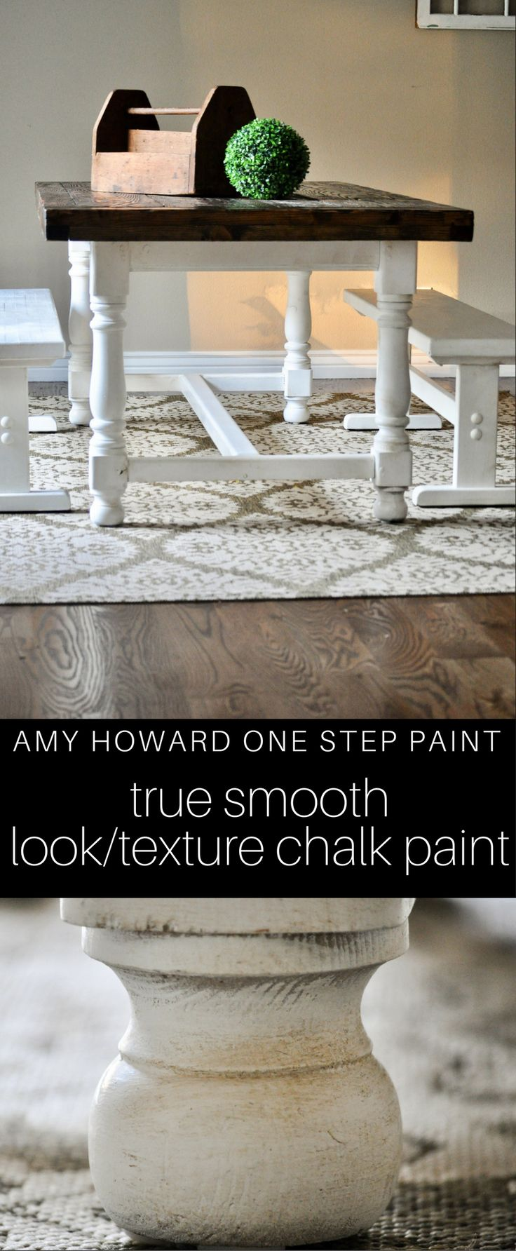 This was our first time using Amy Howard One Step Paint. It goes on smoothly (no brush strokes). It doesn't have a weird texture to it either like most chalk paints. This is absolutely our go to for furniture painting now. Purchase at Ace Hardware or online.
