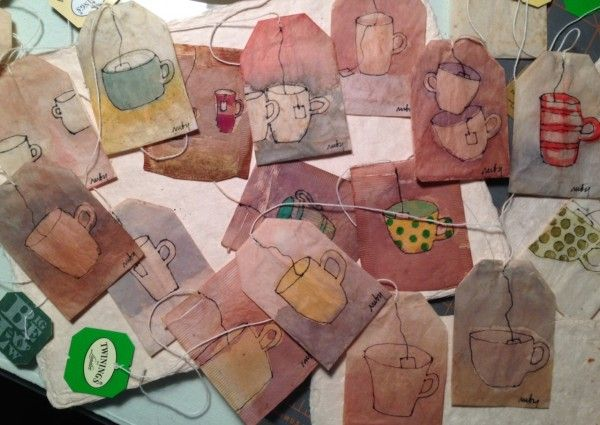 Tea cups on discarded tea bags. Medium: gouache and fine black markers