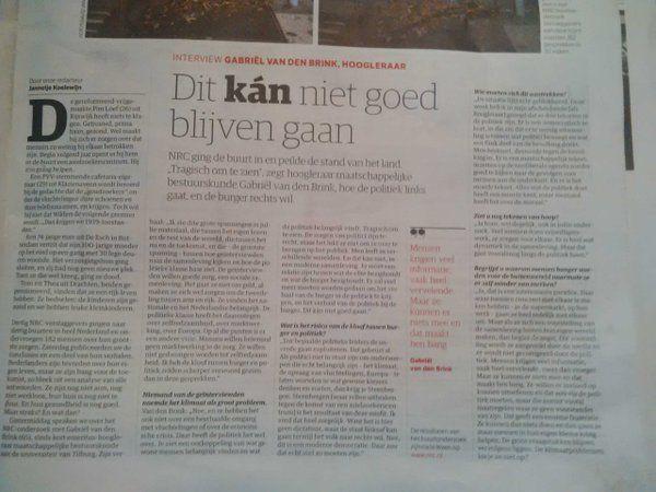 Artikel in NrcNext over kloof tussen burger en politiek. #waardevolleverbindingen #nankoboerma