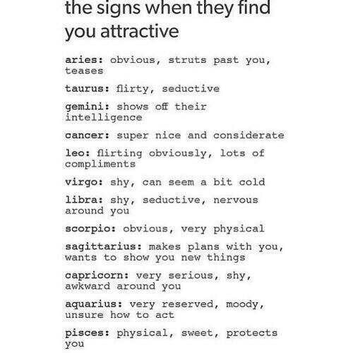 The signs when they find you attractive, text; Zodiac Signs
