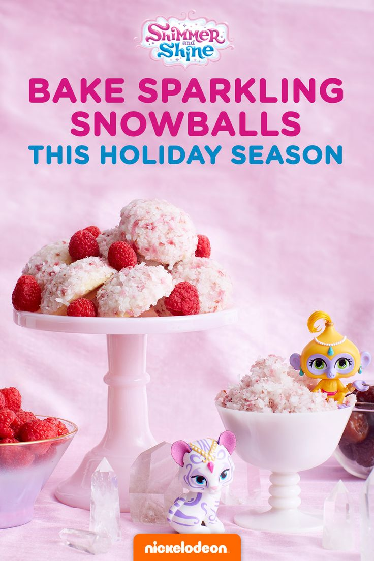 Bake these sparkling Shimmer and Shine holiday cookies or try a no-bake, no-added-sugar alternative. Add some wintry sparkle to your holiday spread with these scrumptiously sweet coconut snowball cookies. In our version, we dyed coconut flakes with raspberries and used them to coat domed sugar cookies.  Wishing for a healthier, no-bake, and gluten-free option? Try substituting dates for sugar and shredded coconut for flour. Boom Zahramay, Happy Holiday!