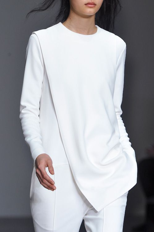 White Jumpsuit with draped panel; minimalist fashion details // Eudon Choi Fall 2014