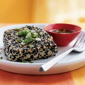 Sesame-Crusted Tuna with Wasabi-Ponzu Sauce @ http://www.myrecipes.com/recipe/sesame-crusted-tuna-with-wasabi-ponzu-sauce-10000000682907/