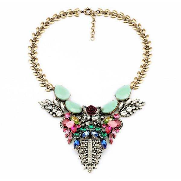 Exotic Statement Necklace (55 AUD) ❤ liked on Polyvore featuring jewelry, necklaces, multi colored statement necklace, rose necklace, red necklace, rose statement necklace and bib necklace