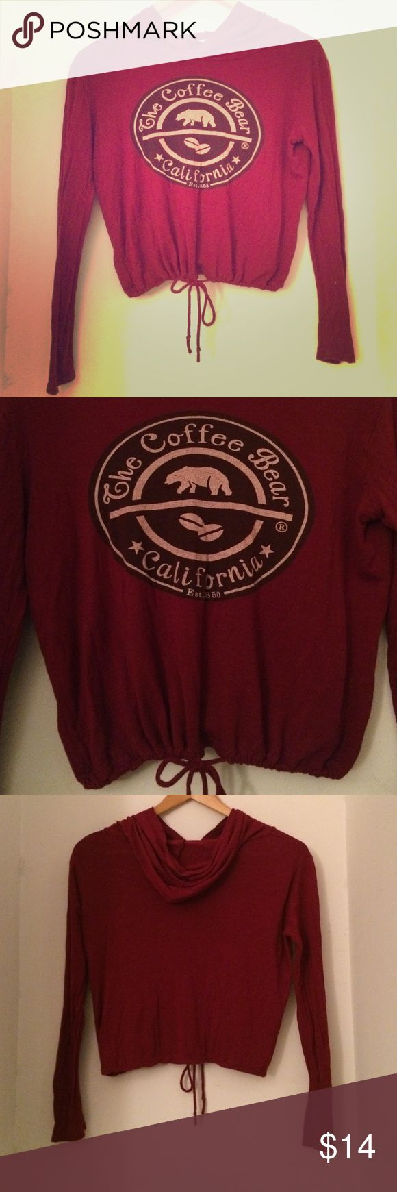 Four Girlz coffee bear California crop hoodie Made in LA. Cute crop hoodie with tie waist, thin fabric but very soft and a little stretch. Love this deep red color. Great for summer bonfires, lounging, you name it! Recently bought worn only once. Perfect condition. Four Girlz Sweaters