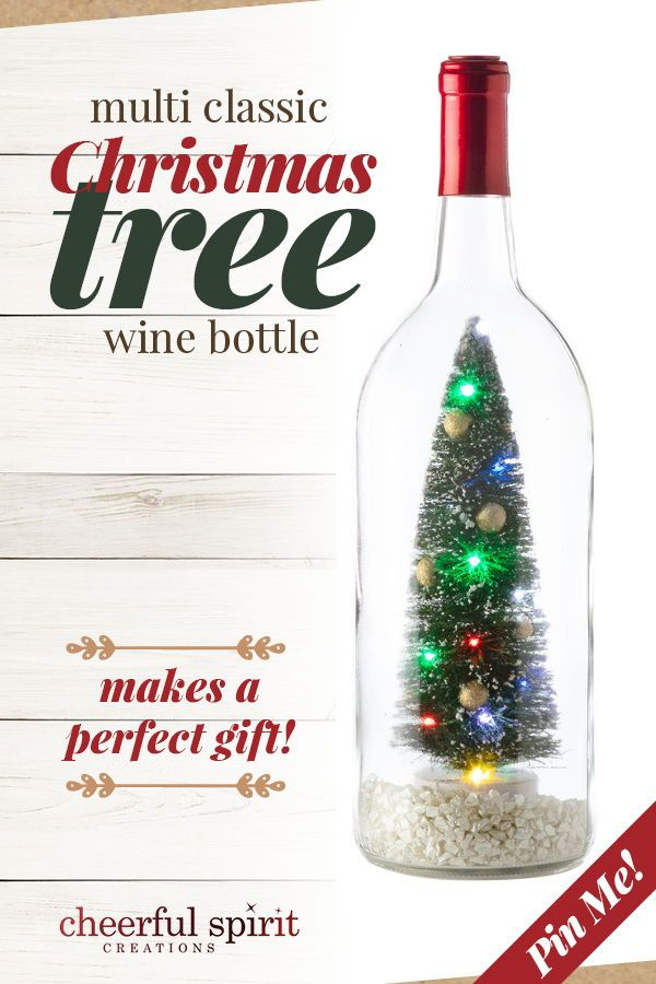 Holiday Bottle Decor Mini Christmas Tree Led Christmas Lights Lighted Wine Bottle Decoration Wine Lover Gift Tabletop Centerpiece Wine Bottle Christmas Tree Wine Bottle Crafts Mini Christmas Tree