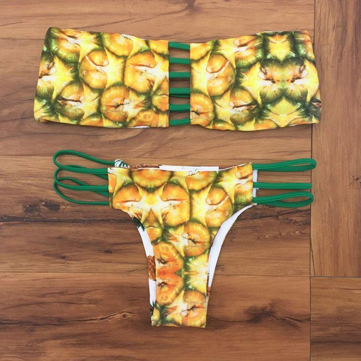 $16.20 (Buy here: https://alitems.com/g/1e8d114494ebda23ff8b16525dc3e8/?i=5&ulp=https%3A%2F%2Fwww.aliexpress.com%2Fitem%2FWomen-Push-Up-Pineapple-Bikini-Strapless-Bikini-Maillot-De-Bain-Femme-Traje-De-Bano-Mujer-Strappy%2F32711003192.html ) Women Push Up Pineapple Bikini Strapless Bikini Maillot  De Bain Femme Traje De Bano Mujer String Monokini High Neck  Bikini for just $16.20