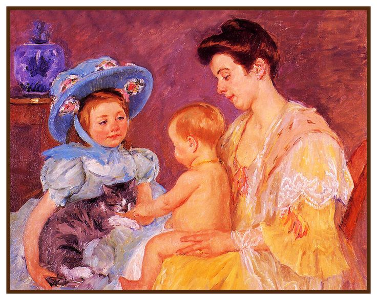 Children Playing with Kitty Cat by American impressionist artist Mary Cassatt Counted Cross Stitch or Counted Needlepoint Pattern