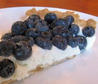 Blueberry cream cheese tart - sweetened cream cheese atop a store-bought refrigerated crust and fresh blueberries. Yum!