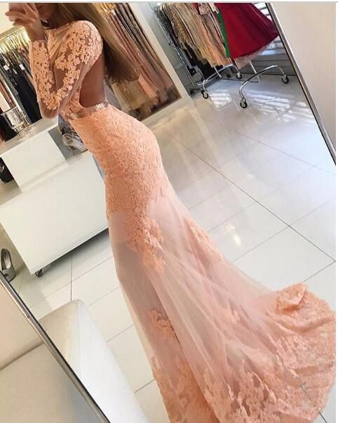 Long Sleeve Coral Lace Formal Dress Appliques Newest High Neck Mermaid Prom Dress