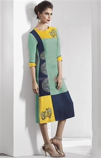 image of Glamorous Natural Green-Yellow Latest Fancy Long Kurti for Legging