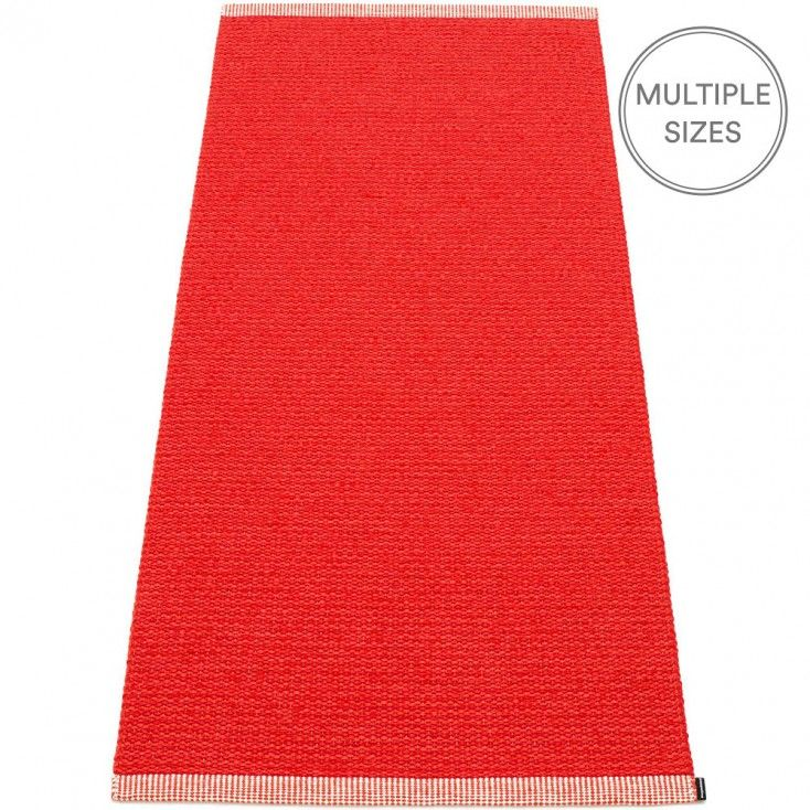 Add a pop of colour to your floor with Pappelina's fabulous red Mono runner. Woven using a blend of two shades of red, this striking rug will brighten any room. The Pappelina Mono runner has a smart double hemmed edge, and comes in four lengths and two widths, 85cm, and the new slender 60cm - perfect for those tight spaces such as shower rooms and narrow hallways. Pappelina runners are woven from soft plastic using traditional Swedish techniques, they are fully reversible and washable.