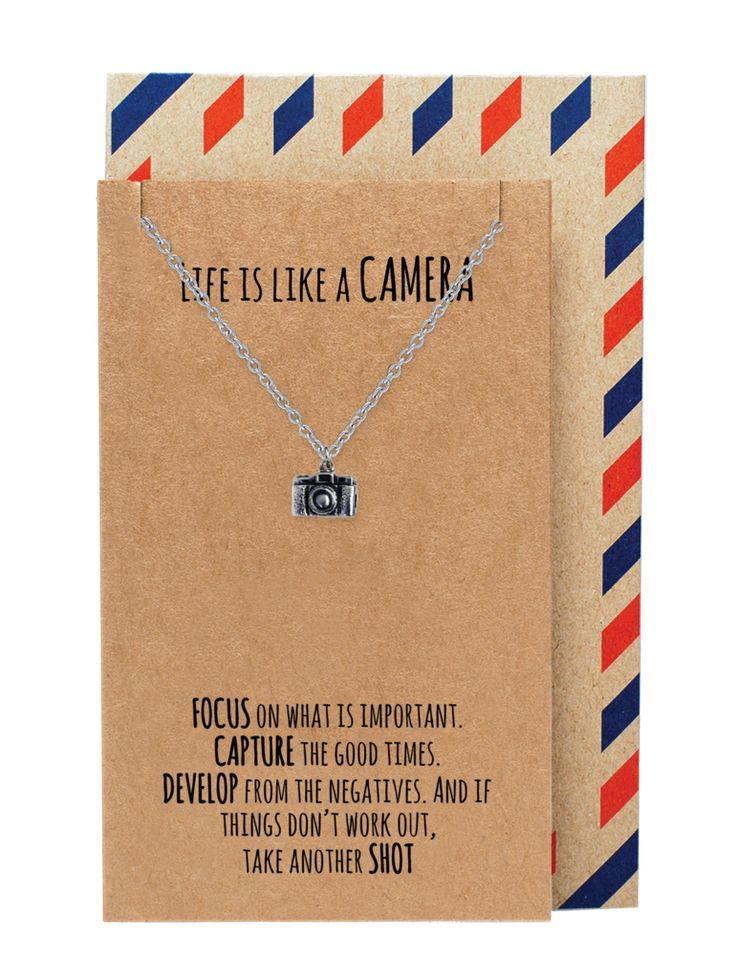 Ida Life is Like a Camera Inspirational Jewelry, Camera Necklace, Silver - Quan Jewelry