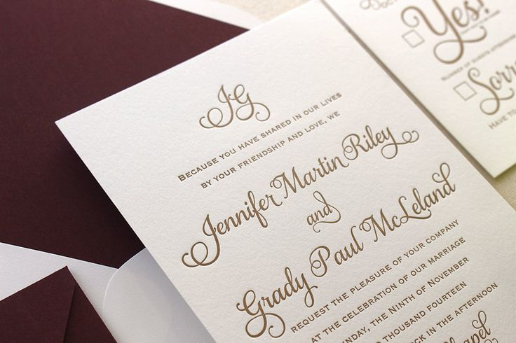 The Cranberry Suite - Classic Letterpress Wedding Invitation Suite Gold with Deep Red Liner, Formal, Simple, Traditional, Monogram, burgundy by DinglewoodDesign on Etsy https://www.etsy.com/listing/246434753/the-cranberry-suite-classic-letterpress