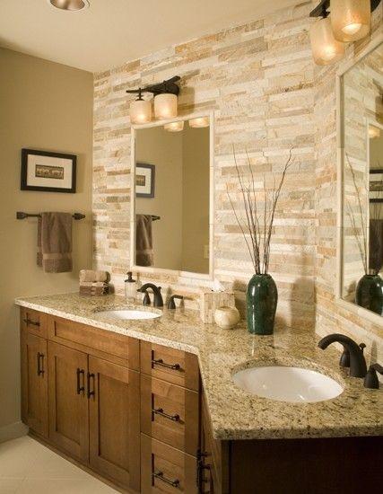 Venetian Gold Granite Design in bathroom. Love the sandstone style wall style.