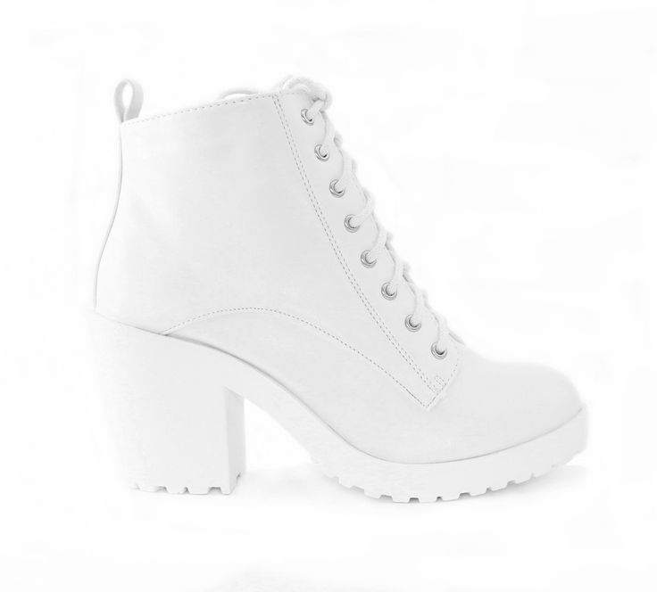 """Style : Ankle Boots, Booties Heel Height : 3 1/4"""" Platform : 3/4"""" Condition : New in Box Main Color : White Main Material : Man-made Material Shaft Height : Approx. 5"""" Fit : True to size Whit Lace Up"""