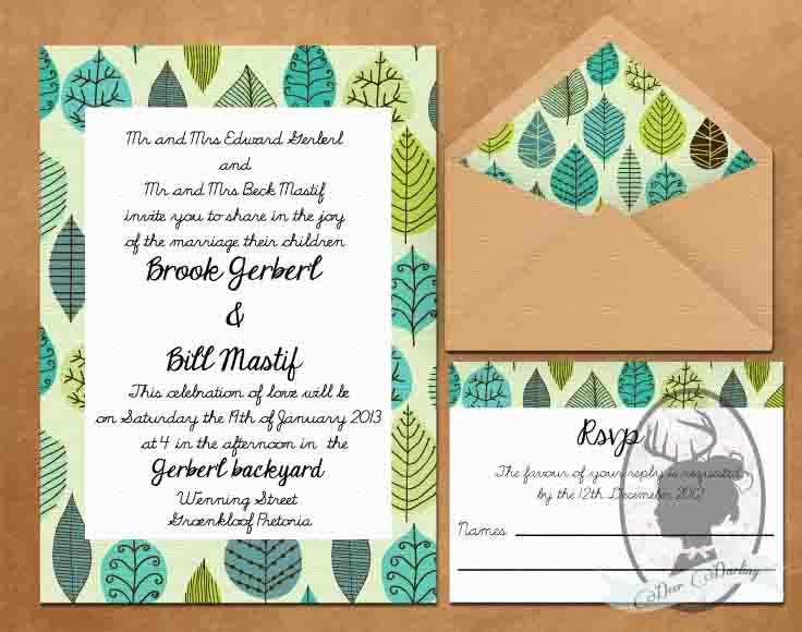 Wedding Invitation Design | Leaves | Eco Wedding
