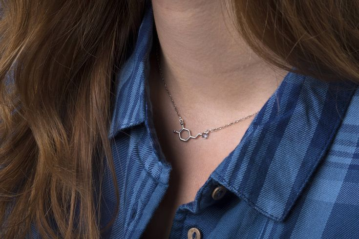 Dopamine necklace, WHITE GOLD, blue topaz pendant chemistry, bridesmaid jewelry unique, dopamine molecule, December birthstone, woman gift by largentolab on Etsy
