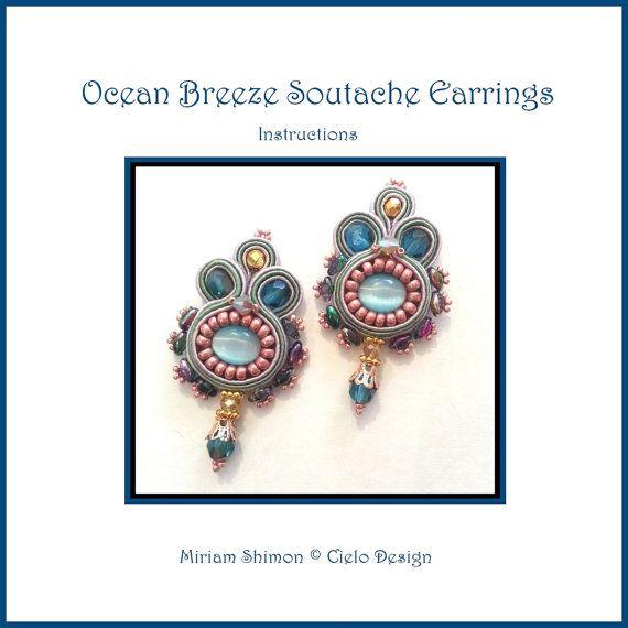 Ocean Breeze Soutache earrings tutorial by MiriamShimon on Etsy, $10.00