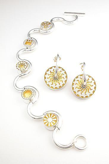 Slolam Bracelet by Victoria Varga: Gold & Silver Bracelet available at www.artfulhome.com