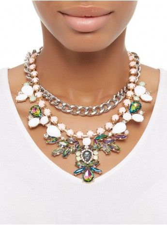 Flower Crystal Necklace Multi-colour 175