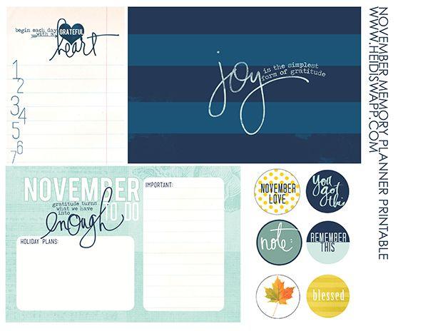 FREE Hello NOVEMBER Memory Planner Printable By Heidi Swapp