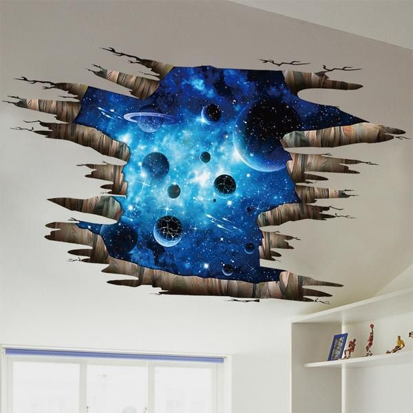 Planets Space Stars Solar System 3D Smashed Wall Art Stickers Home Office Decor