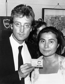 "1976 - After Years Of Fighting Deportation From A Government That Objected To His Public Radicalism John Lennon Finally Got His ""Green Card"" Allowing Him To Stay In The United States"