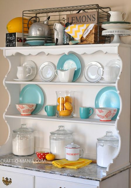 Summer Hutch Decor { open kitchen cabinets }
