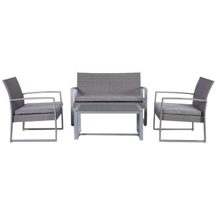 amazoncom giantex 4pc patio furniture set cushioned outdoor wicker rattan garden lawn sofa
