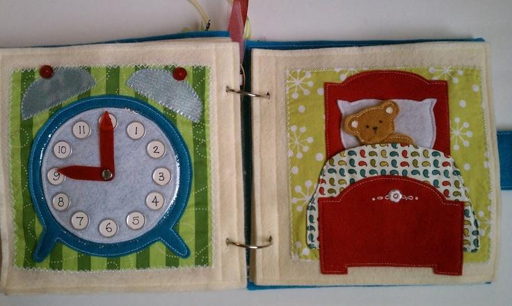 quiet book clock, put teddy to bed